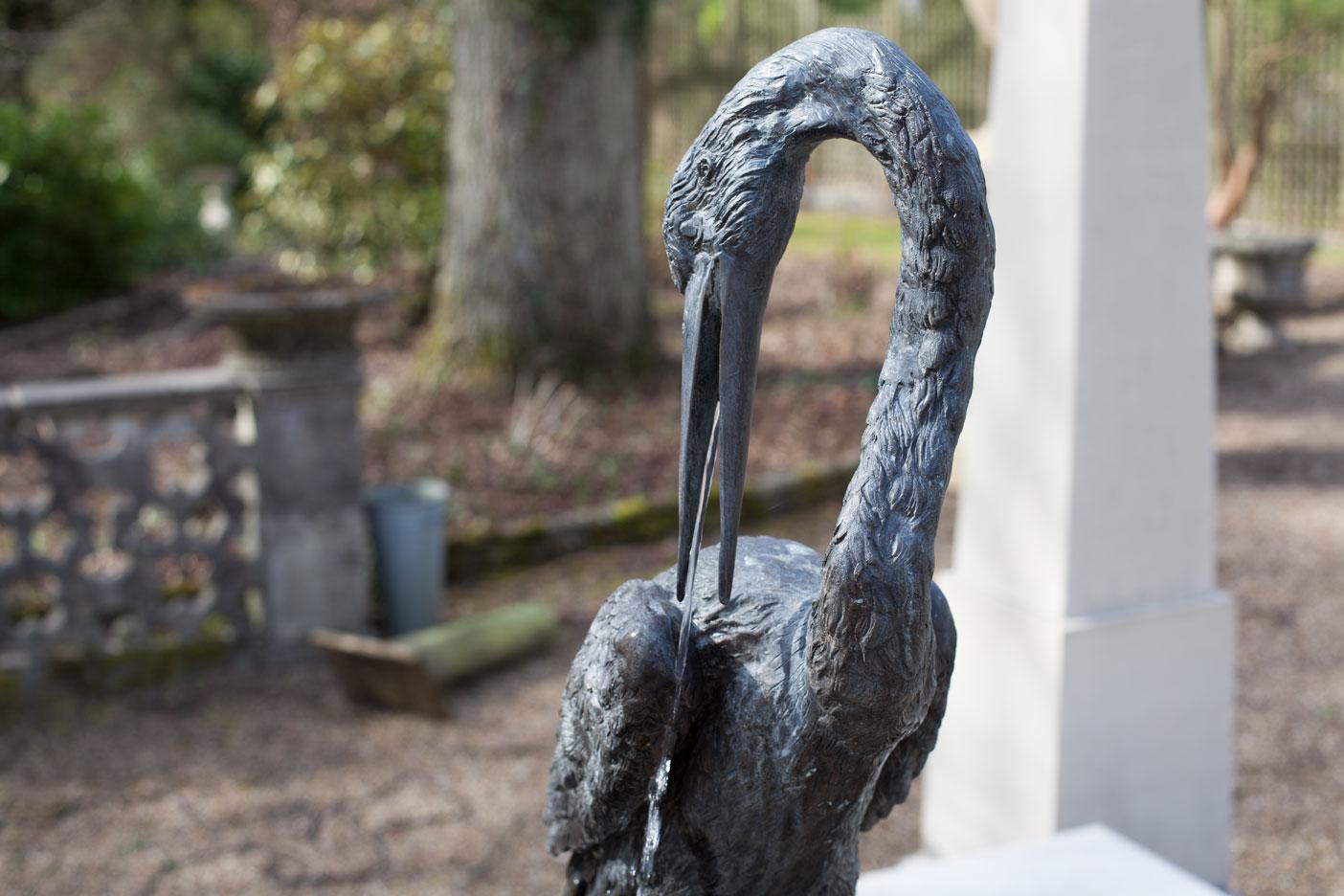 bronze crane fountain