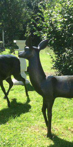 Bronze deer garden statues at chilstone show gardens